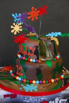 This would be a cool party for both of the kids. Look at the cake and then think paint ball. Fun for kids and adults.