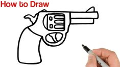 How to Draw a Gun Super Easy Art Drawings Sketches Simple, Easy Drawings For Beginners, Simple Art, Learn To Draw, Art Tutorials, Super Easy, Guns, Easy Youtube, Learn How To Draw