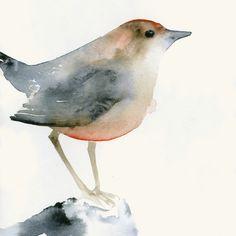 Kleiner Vogel in Rosa und Braun - Fine Art Druck