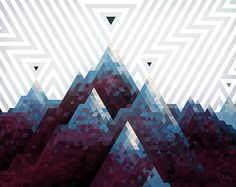 """""""Hexel Mountainscape,"""" from a collection of artwork made in Hex-Ray Studio's art program Hexels."""