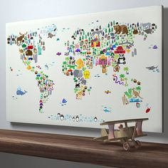 animal world map print by artpause | notonthehighstreet.com