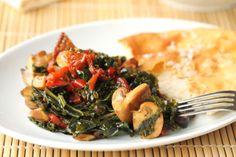 stir-fried kale with mushrooms