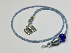 Blue Beaded Bookmark- Book Jewelry