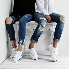 "@vis_a and I kicking back in our converse thanks to @shoesdotcom!! #soleseeker Btw, how rad is my new jeans from @blanknycjeans ""Vodka Diet Pant""!?! #blanknyc"