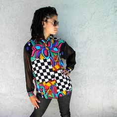 Can't Touch This - Vintage 80s/90s Hip Hop/Hype/B-Girl MC Hammer Checkerboard Shirt/Blouse/Top w/ Sheer Black Peekaboo Sleeves - Small/S. $28.00, via Etsy.