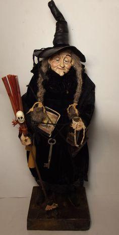 Kim's Klaus~OoaK Witch~Handmade Folk Art Doll~Antique Vintage Halloween~Cat Kim's Klaus~OoaK Witch~Handmade Folk Art Doll~Antique Vintage Halloween~Cat Retro Halloween, Halloween Doll, Halloween Witches, Happy Halloween, Witch Cottage, Haunted Dolls, Season Of The Witch, Gnome, Vintage Witch