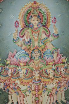 Aditya Gond Painting, Kerala Mural Painting, Tanjore Painting, Krishna Painting, Indian Art Paintings, Krishna Art, Silk Painting, Painting & Drawing, Canvas Paintings