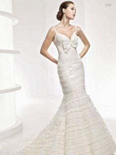 Romantic Mermaid Spaghetti Straps Ruffles Ivory Organza Wedding Dress