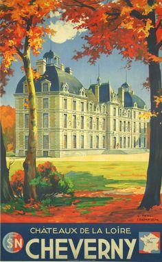Chateau de la Loire - Cheverny - France - 1935 - illustration de  E P Champseix -