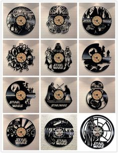Star Wars Wall Clock Vinyl Record Clock Creative Pendant Clock Home Decoration. This vintage style wall clock is made from a new and original vinyl music record. 3d Wall Clock, Clock Art, Wall Clock Design, Diy Clock, Clock Decor, Vinyl Record Projects, Vinyl Record Clock, Vinyl Records, Vinyl Music