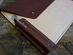 Leather Document Wallet with pen slot