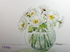 White Roses and Daisies Original Watercolor by RoseAnnHayes, available in Etsy shop