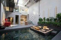 Attractive Indoor Pond Design Ideas That Feels Like In Outdoor Indoor Pond, Indoor Outdoor, Outdoor Spaces, Outdoor Living, Pond Design, House Design, Design Design, Indoor Water Features, Sunken Living Room