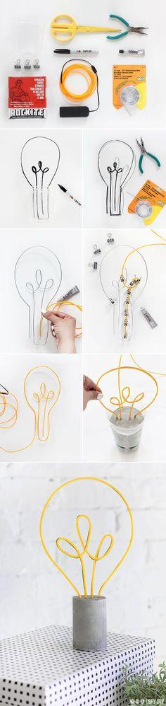 MY DIY   Neon Lightbulb Lamp   I SPY DIY