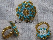Byzantine Rosette Ring at Sova-Enterprises.com This ring looks like 3-D lace.  Project Type: Bead Stitch: peyote and byzantine rosette Beads Used: Czech beads N 10 Approx Finished Size: 3 cm in diameter Pages to Print: 26 Designer/Supplier: Katherina Kostinsky