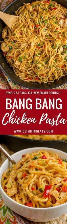Dig into a bowl of this Delicious Bang Bang Chicken Pasta - a perfect family meal with a spicy kick - Slimming World and Weight Watchers friendly Click the image for more info. Slimming World Dinners, Slimming World Chicken Recipes, Slimming World Recipes Syn Free, Slimming Eats, Slimming World Lunch Ideas, Slimming World Noodles, Slimming World Stir Fry, Slimming World Lasagne, Slimming World Curry
