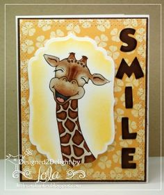 Smile giraffe card using From The Heart stamp and Mickey Font Cricut Cart Boy Cards, Kids Cards, Mickey Font, Giraffe Pictures, Friendship Cards, Scrapbooking, Animal Cards, Cards For Friends, Penny Black