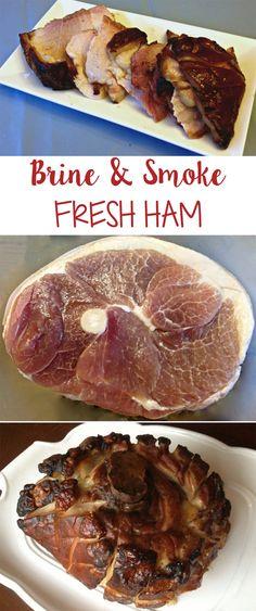 thanksgiving thanksgiving ham How To Brine & Smoke Fresh Ham Smoked Ham Brine Recipe, Fresh Ham Recipe, Smoked Pork, Bbq Ham Recipes, Traeger Recipes, Game Recipes, Rib Recipes, Oven Recipes, Recipes