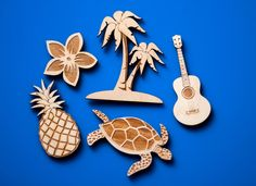 Island fridge magnet set Hawaiian Luau home decor laser cut wooden fridge kitchen decor turtle ukulele palm trees plumeria pineapple beachy