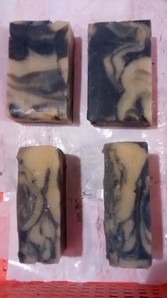 Neem CP in pot swirl. With tea tree & rosehip EOs,  Wheatgrass pwdr color 1, active charcoal color 2.  Cocoa butter, sweet almond oil, rice bran oil, etc.