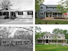 two before and afters of formerly ranch style houses remodeled to look like different architecture house styles, reader remodel contest 2015