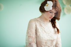 Crochet and Aqua Inspiration- birdcage veil with orchid by Ipomea Floral