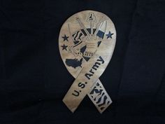 """army ribbon, for the army member in your family. Made from 2 pcs, 1/8"""" baltic birch. Has a natural stain & a lacquer finish. you can visit my shop @ etsy.com.. DavesSawdustFactory. Thank you"""