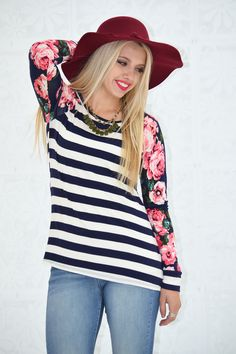 Stripe and Floral Long Sleeve Top - My Sisters Closet