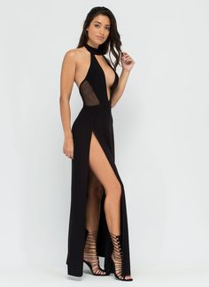 Legs For Days Plunging Slit Maxi Dress BLACK