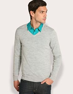 The latest men's fashion tips, style advice and grooming techniques broken down at FashionBeans. Latest Mens Fashion, Men Style Tips, Basic Style, My Man, Jumpers, Fashion Advice, Asos, V Neck, Long Sleeve