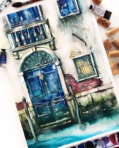Enchanting watercolor painting of a building facade. I love the vibrant colors used in this artwork! #art #designinspiration #design #colors #colorpalette #tones #style #variations #artisan #buildings #architecture #watercolorpainting #urban #perspective #city #artwork #art #watercolor