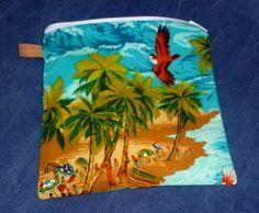 Reusable Sandwich Bag - Hawaii - Zip Close Wet Bag - Waterproof - Food Safe. Eco friendly!
