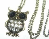 Bronze Rhinestone OWL Necklace Free Shipping $10