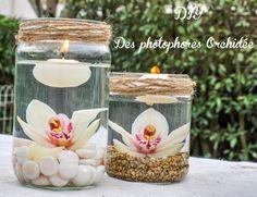 Idée décoration mariage : les photophores orchidée. Créez de jolis photophores pour décorer votre cocktail et tout cela pour moins de 5 € pièce.
