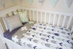 Navy grey and mint arrow nursery set by MamaAndCub on Etsy: