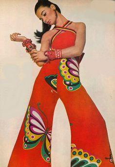 Model wearing a butterfly jumpsuit by Hanae Mori, 1967.