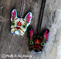 Love: Day of the Dead French Bulldog Sugar Skull Dog Necklace in Black or White on Etsy, $19.95