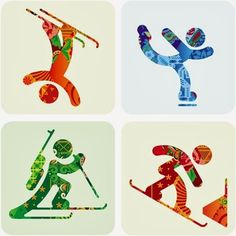 """Sochi 2014 Organizing Committee unveiled the pictograms of the 2014 Winter Olympic Games. The pictograms are based on those of the 1980 Summer Olympic Games in Moscow and, as the press release states, """"taking into account modern views Winter Olympic Games, Winter Games, Square 1 Art, Olympic Sports, Olympic Icons, Olympic Gymnastics, Winter Project, Marc Chagall, Winter Art"""