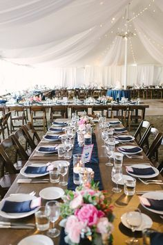 Tented Romantic Wedding Reception - Navy + Pink Color Palette. See the full wedding here -http://www.stylemepretty.com/2013/11/08/cayucos-wedding-from-we-heart-photography