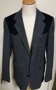 Pendleton Sport Coat 44L Vintage Western Blazer Suede Patch Vented Tweed Jacket #Pendleton #TwoButton