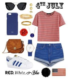 """""""Casual 4th of july"""" by natkurii on Polyvore featuring WithChic, adidas, Gabriella Rocha, Valextra, Quay, Kate Spade, Everlasting Gold, Foundrae, Gucci and redwhiteandblue"""