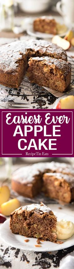 The BEST Apple Cake on the internet - very moist, perfectly spiced and so fast & easy to make. No mixer required, just a wooden spoon! Made with fresh apples. www.recipetineats.com