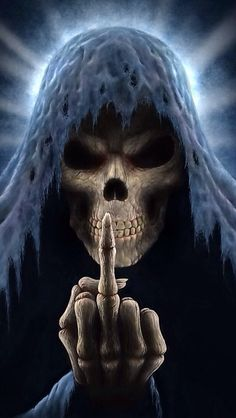 death giving the finger..