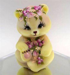 Fenton Yellow Satin Burmese Buds & Mulberries Glass Bear OOAK