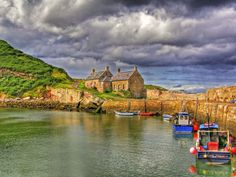 Cove harbour East Lothian Scotland. A small hamlet of houses on the east coast of Scotland. The harbour used many years ago by smugglers.