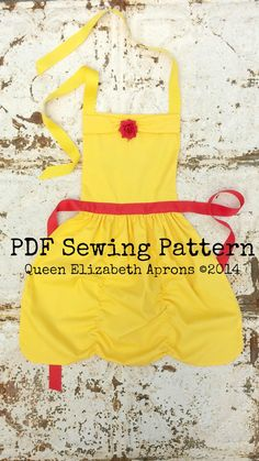 BELLE Beauty and the Beast PDF Sewing PATTERN. Disney princess inspired Child Costume Apron Birthday Party Dress up Play Fits Girls size 2-8