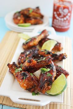 Baked Honey-Sriracha Chicken Wings http://www.thecomfortofcooking.com/2013/11/baked-honey-sriracha-chicken-wings.html