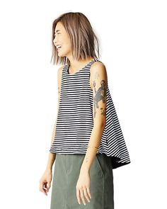 Kate Spade Saturday Striped Reversible Trapeze Top