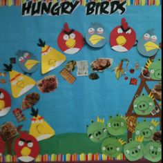 The kids went wild for this one! Hungry birds! The birds use a healthy food catapult to destroy the junk food!! So many ways to use angry birds in the classroom!!