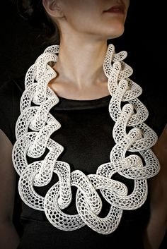 Sculptural Jewellery - Neckpiece made with glass filled nylon & sterling silver printed as one interlocked piece // Doug Bucci